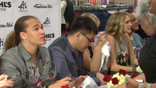 american idol season 11 contestants at american idol season 11 contestants appear at los angeles kohl's for american idol's 'authentic icon... - american idol stock videos and b-roll footage