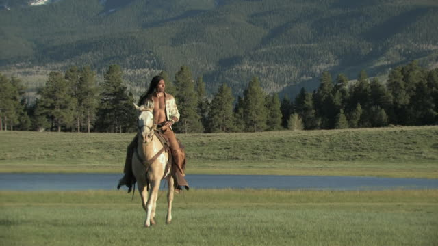 ZO, WS, American Indian man riding paint horse, San Juan Mountains, Colorado, USA