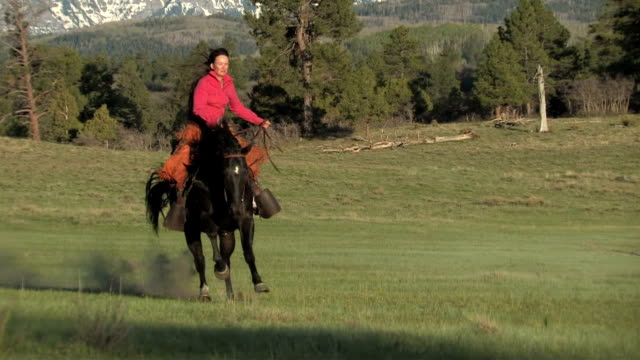 stockvideo's en b-roll-footage met ws, ts, american indian woman riding horse, san juan mountains in background, colorado, usa - amerikaans indiaanse etniciteit