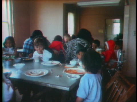 american indians eat in a dining hall on alcatraz island - san francisco bay stock videos & royalty-free footage
