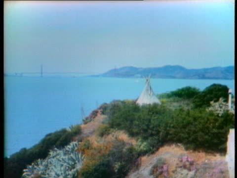 american indians live on alcatraz island - san francisco bay stock videos & royalty-free footage