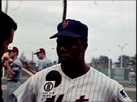 American Major League Baseball left fielder for the New York Mets Cleon Jones interviews on the field of the 1969 World Series Cleon Jones Prepares...