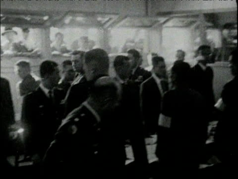 american military officials enter room joining north korean military officials at table for korean armistice commission meeting panmunjon 24 jan 68 - waffenstillstand krieg stock-videos und b-roll-filmmaterial