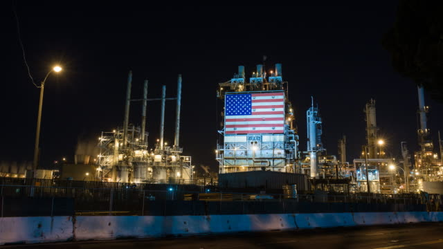 American oil refinery working through the night