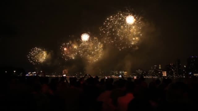 American people celebrate the 239th birthday of America and fireworks illuminate the sky over the East River during the 39th annual Macy's 4th of...