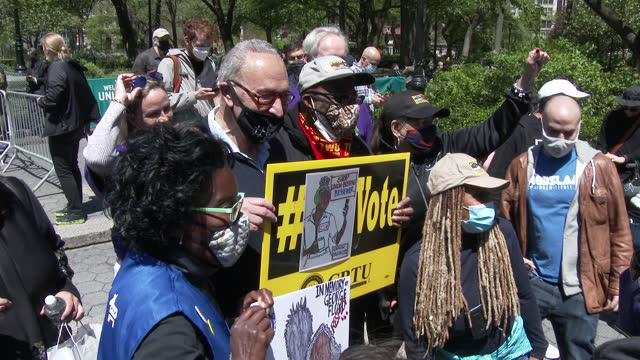 american politician and united states senator chuck schumer poses for pictures with marijuana advocates at the cannabis parade on may 1, 2021 in... - medium group of people stock videos & royalty-free footage