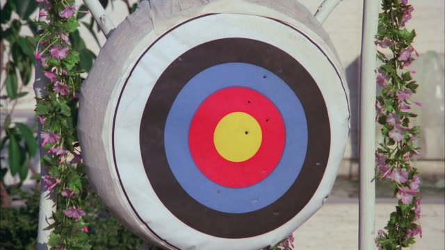 cu american round archery target surrounded by pretty flowers, three arrows hitting at center of archery - mirare video stock e b–roll