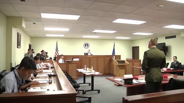 american service members joined japanese law enforcement and prosecutors in court for the military justice exhibition. the exhibit simulated a trial... - court room stock videos & royalty-free footage