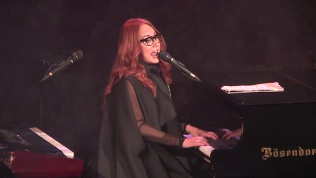 american singer tori amos performs on stage of le trianon in paris to celebrate the 10th anniversary of viktor & rolf perfume flowerbomb after their... - tori amos stock videos & royalty-free footage