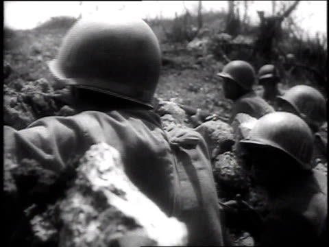 american soldiers keep cover in a trench / okinawa, japan - pacific war stock videos & royalty-free footage