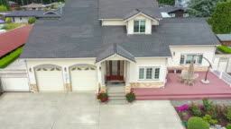 American suburban home departure aerial view