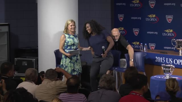 american tennis player serena williams and croatian tennis player marin cilic attend a press conference prior to the 2015 us open tennis... - serena williams tennis player stock videos & royalty-free footage