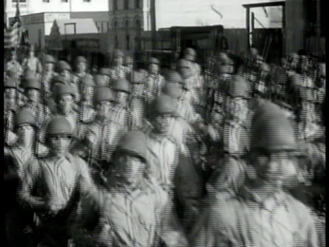 american troops soldiers marching through australian streets ws pilots or 'flyers' studying map in tent ms flyer talking pointing to map ms captain... - army soldier stock videos & royalty-free footage