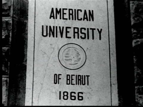 1925 b/w cu american university of beirut sign / beirut, lebanon - 1925 stock videos & royalty-free footage