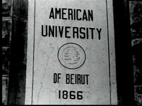 1925 B/W CU American University of Beirut sign / Beirut, Lebanon