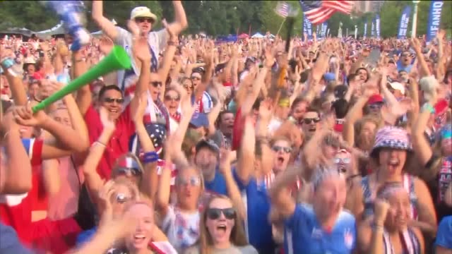 wgn american women's national soccer team fans celebrate 2015 world cup win in lincoln park on july 5 2015 - fifa world cup stock videos & royalty-free footage