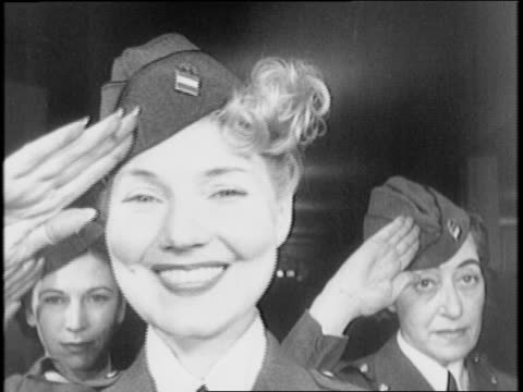 american women's volunteer services enroll war workers and open firemenette classes / women queue to volunteer for service / woman gets her... - open enrollment stock videos & royalty-free footage