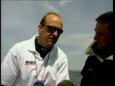 america's cup british crew to race isle of wight ian walker on deck ian walker interviewed sot we've got some great guys it's such a thrill to be... - sailing team stock videos & royalty-free footage