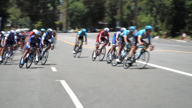 Amgen Tour of California bike race starting in Wrightwood and finishing in Pasadena California The location of the clip is Angeles Crest Highway in...