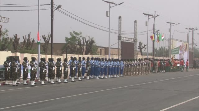 amid political tensions niger marks its 57th anniversary since independence with a military parade in the presence of president mahamadou issoufou - mahamadou issoufou stock videos and b-roll footage