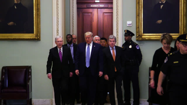 amid the novel coronavirus outbreak president donald trump attended the republican senate luncheon tuesday to address concerns and the... - partito repubblicano degli usa video stock e b–roll