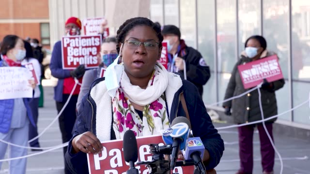amid the outbreak of the coronavirus disease , public and private hospital nurses and medical practitioners rally outside harlem hospital center in... - respiratory equipment stock videos & royalty-free footage
