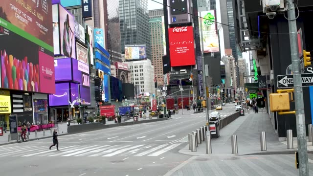 amid the outbreak of the coronavirus disease times square in manhattan new york city has little tourism schools and business have shutdown or... - times square manhattan stock videos & royalty-free footage