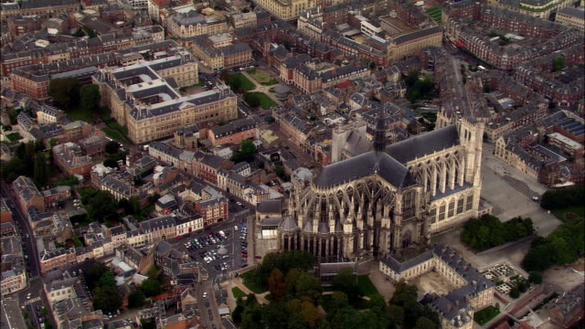 AERIAL Amiens Cathedral and cityscape/ Amiens, France
