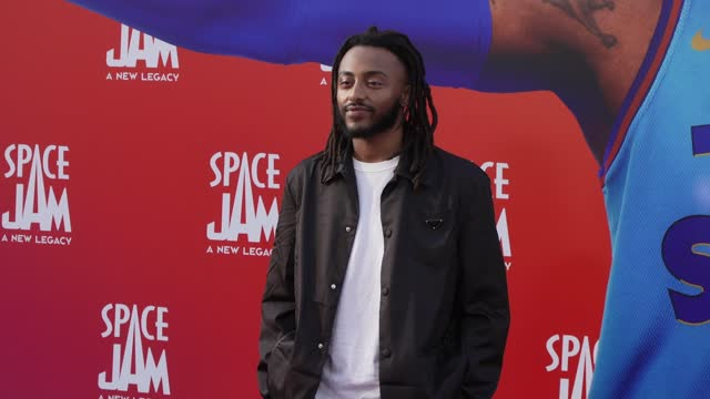"""aminé at the premiere of warner bros """"space jam: a new legacy"""" - arrivals at regal live on july 12, 2021 in los angeles, california. - space jam stock videos & royalty-free footage"""