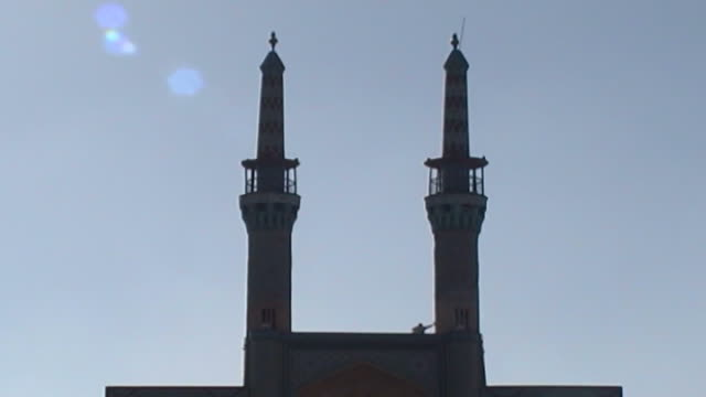 amir chakhmaq complex lowangle view of the amir chakhmaq minarets in amir chakhmaq square the mosque is from the timurid era completed in the mid... - circa 15th century stock videos & royalty-free footage