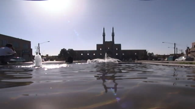 amir chakhmaq complex lowangle view of the fountains and mosque in amir chakhmaq square the mosque is from the timurid era completed in the mid 15th... - circa 15th century stock videos & royalty-free footage