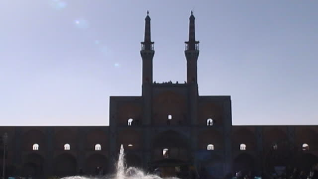amir chakhmaq complex lowangle view of the minarets and mosque in amir chakhmaq square the mosque is from the timurid era completed in the mid 15th... - circa 15th century stock videos & royalty-free footage