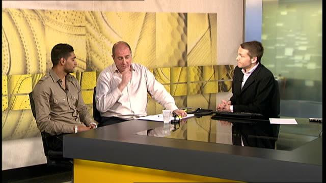 amir khan interview; england: london: gir: int amir khan interview sot - enjoys watching steve bunce show on setanta / talks about why he went from... - ライトウェイト級点の映像素材/bロール
