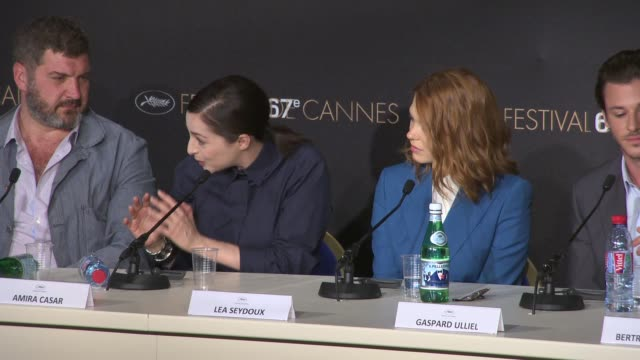 INTERVIEW Amira Casar Lea Seydoux Aymeline Valade on their characters at 'Saint Laurent' Press Conference on May 17 2014 in Cannes France