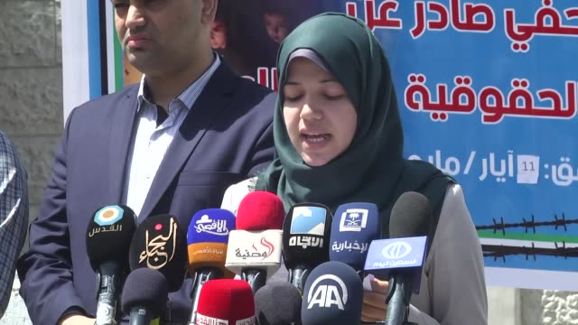 amira seas, spokeperson of human rigths associations, held a press conference about latest electricity crisis in front of the united nations... - gaza city stock videos & royalty-free footage