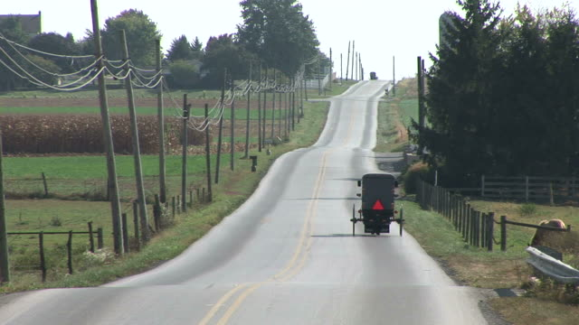 amish horse and buggy next to farm in lancaster, pennsylvania - lancaster county pennsylvania stock videos and b-roll footage