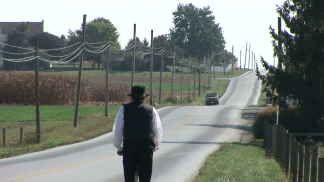 Amish man with bike in Lancaster, Pennsylvania