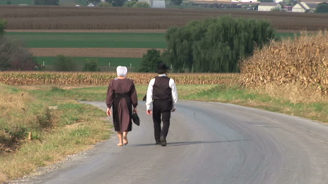 Amish walking on road