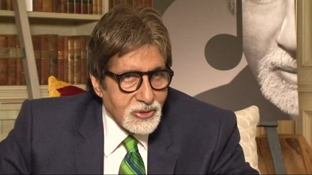 amitabh bachchan promotes celebrity voice blogging service: bachchan interview; bachchan interview sot - doesn't have a specific beauty regime /... - mime stock videos & royalty-free footage