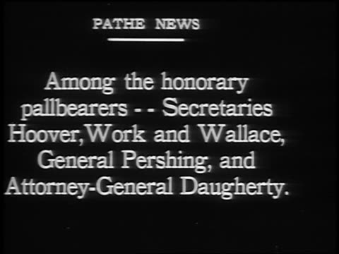 among the honorary pallbearers / president harding's funeral - 1923 stock videos & royalty-free footage