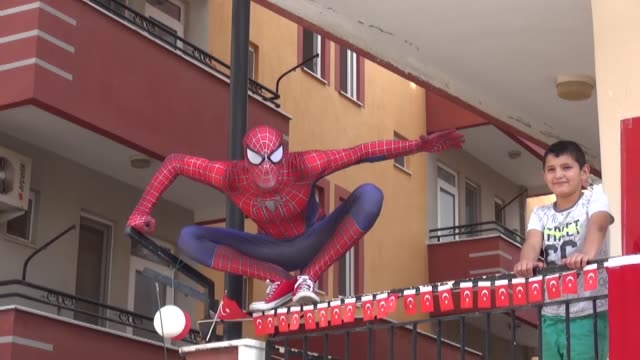 among the most popular superheroes of our time are superman and spiderman, who are nowadays helping and entertaining children as they are not allowed... - superman superhero stock videos & royalty-free footage