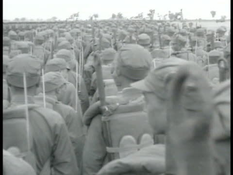 infantry amp burma road ws chinese soldiers uncovering camouflage of artillery vs troops standing at attention ha ws trucks on burma road xws workers... - myanmar stock-videos und b-roll-filmmaterial