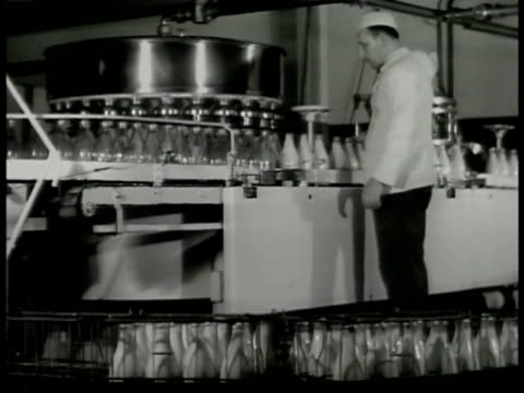 vídeos de stock e filmes b-roll de ws argentinean inspector examining milk cans assembly line ms workers wheeling barrel of unprocessed cheese machine turning bg cu stacks of packaged... - aparelhagem de áudio