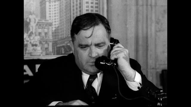 dewey amp laguardia vs cu new york city prosecutor thomas e dewey amp mayor fiorello laguardia on telephone reprisal ms laguardia amp dewey sitting... - 1937 stock videos and b-roll footage