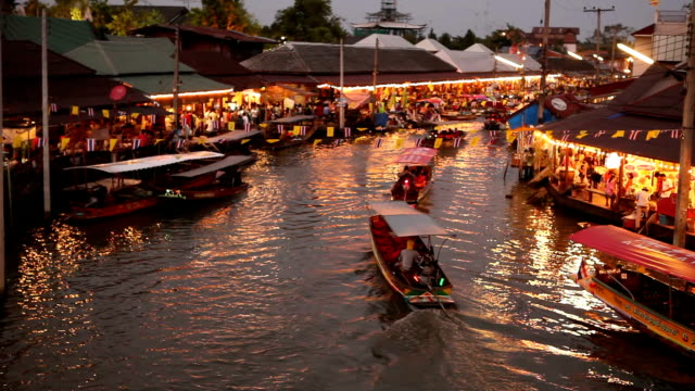 Ampawa Floating Market at night in Thailand