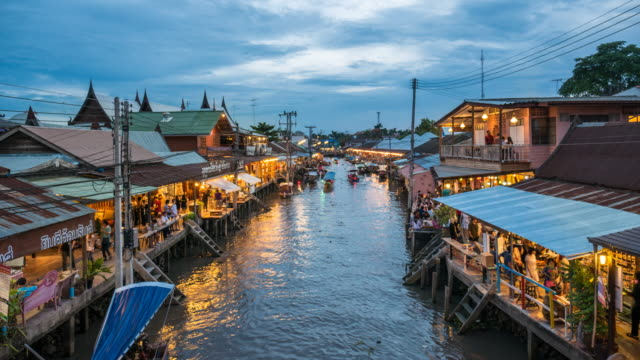 Amphawa floating market in Thailand at Dusk, Floating Market, Time Lapase