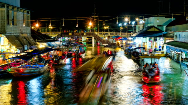 amphawa floating market in thailand - floating market stock videos & royalty-free footage