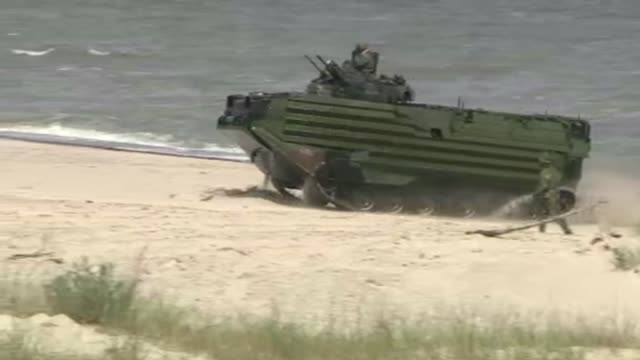 amphibious vehicle on beach - amphibious vehicle stock videos & royalty-free footage