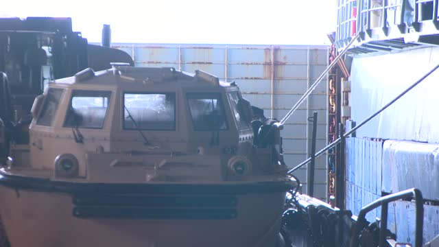amphibious vehicle on ship deck - amphibious vehicle stock videos & royalty-free footage