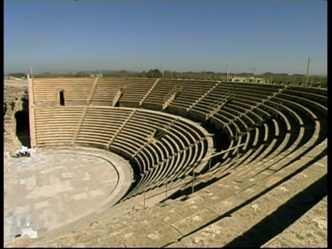 amphitheatre in caesarea, israel - amphitheatre stock videos & royalty-free footage